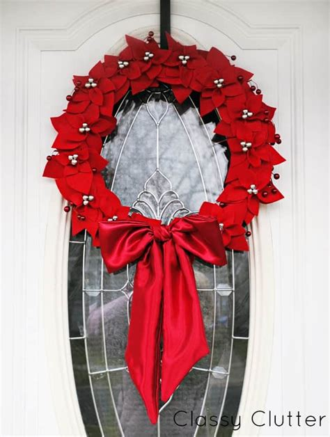 diy felt poinsettia christmas wreath skip   lou