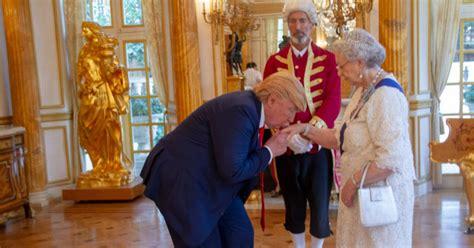 trump queen behind mirror donald tea scenes visit elizabeth president afternoon mocked meeting ii hilarious aj