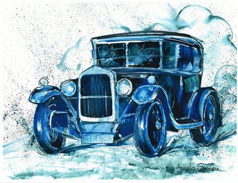Car Painting Downton Abbey Gift Fine Art Print Blue Wall Art