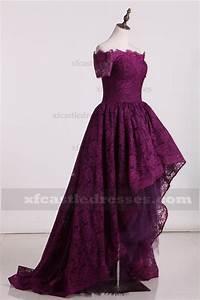 2017 Off the Shoulder Plum Lace High Low Prom Dresses ZPEE224