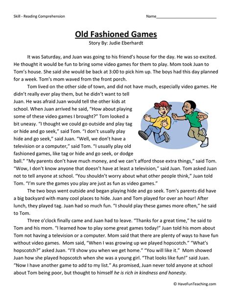 Old Fashioned Games  Reading Comprehension Worksheet