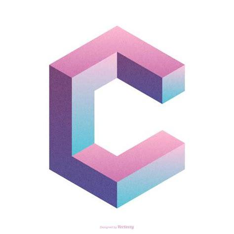 Isometric Letter C Typography Vector Design Download
