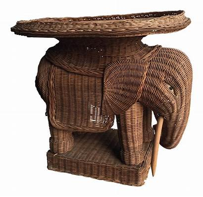 Elephant Wicker Table End Occasional Chairish