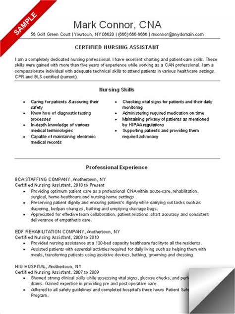 resume for nursing assistant cna resume sle