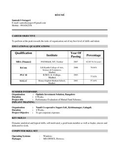Mba Resume Sle by Resume Format For Mba Finance Fresher 1 Career