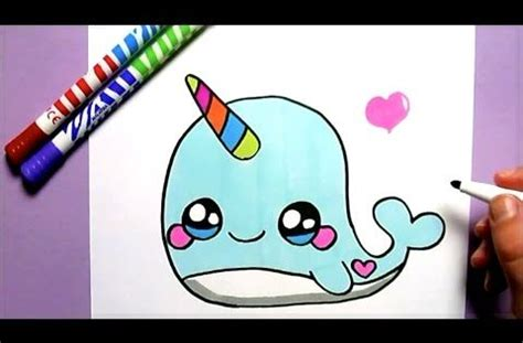 comment dessiner une baleine licorne kawaii dessin