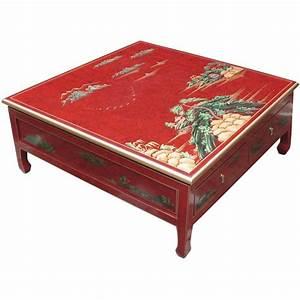 Table Basse Chinoise : table basse chinoise 4 tiroirs laque rouge ~ Melissatoandfro.com Idées de Décoration