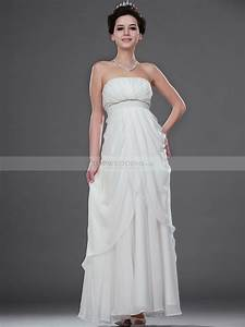 ankle length strapless draped chiffon empire wedding dress With empire wedding dress