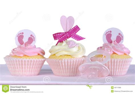 Baby Boy Baby Shower Theme Ideas by Three Baby Cupcakes Against A White Background Stock