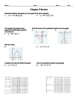 """Holt Algebra Chapter 9 """"quadratic Functions & Eq'ns"""" Review Worksheet Doc & Pdf"""