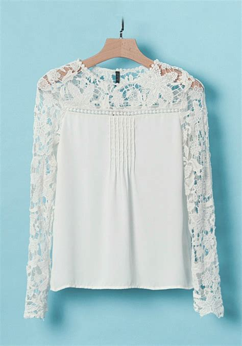 lace blouse white lace patchwork neck wrap chiffon blouse