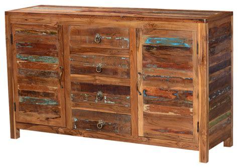 Santa Fe Distressed Rustic Reclaimed Wood Sideboard Buffet