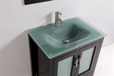 bathroom vanity with sink and faucet tempered glass top 30 quot single sink bathroom vanity with