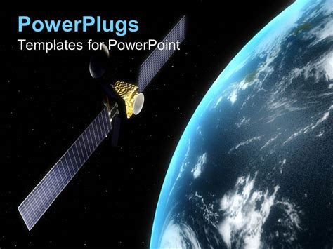 download template powerpoint 2017 satelit powerpoint template satellite in orbit rotating round the