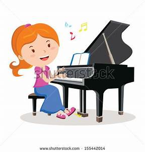 Girl playing piano. Pianist. Vector illustration of a ...