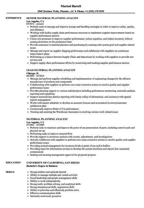 material planning analyst resume samples velvet jobs