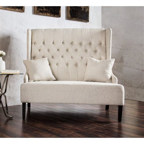 Wing Back Settee by Furniture Of America Mahle Tufted Wingback Settee In Ivory