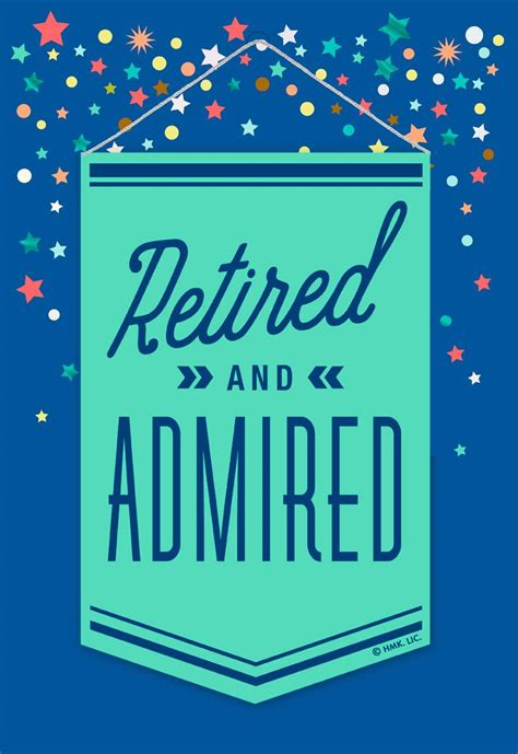 retired  admired jumbo retirement card  removable