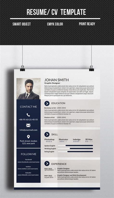 Corporate Cv Template by Corporate One Page Cv Resume Template Cv Resume Design