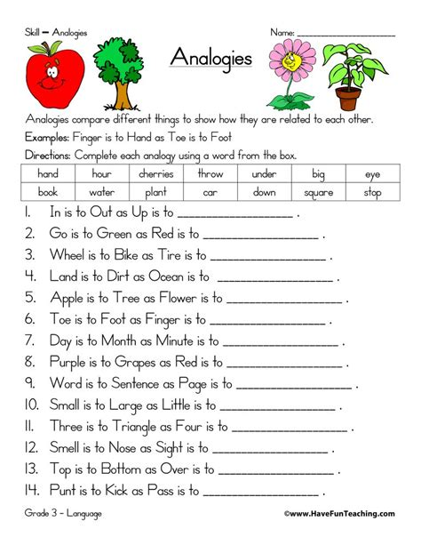 Analogy Worksheets  Have Fun Teaching