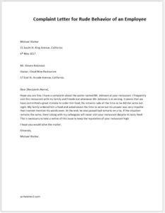 complaint letter  rude behaviour   employee