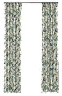 blue jacobean floral custom drapery panel traditional