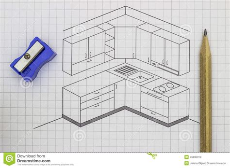 croquis cuisine croquis de cuisine image stock image du architecte