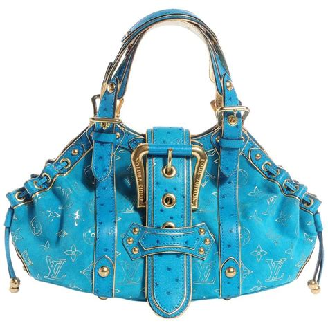 rare louis vuitton turquoise suede ostrich skin monogram bag  sale  stdibs