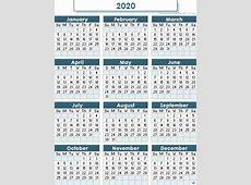 2020 calendar Printable 2018 calendar Free Download USA