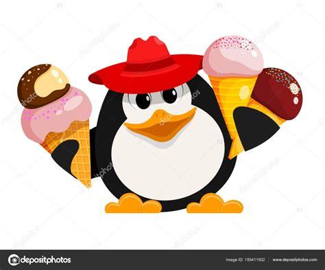 Pingüino Con Helado. Imagen De Color De Estilo De Dibujos