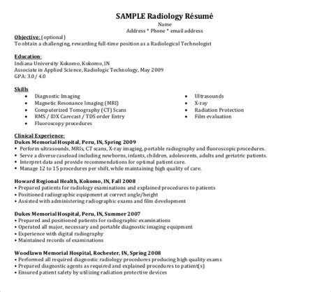 radiologist resume templates