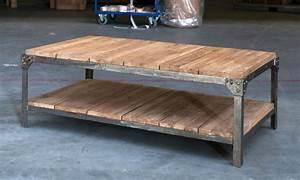 Table Fer Bois : table de salon fer et bois table basse et pliante ~ Teatrodelosmanantiales.com Idées de Décoration