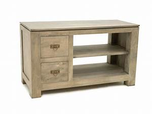 Meuble Tv Petit : petit meuble tv holly 2 tiroirs 1 niche avec tag re meubles bois massif ~ Teatrodelosmanantiales.com Idées de Décoration