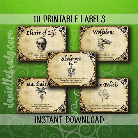 printable harry potter inspired potion labels collage sheet