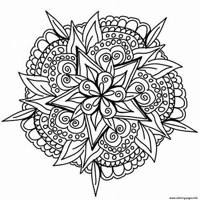 Mandala Coloring Drawn Cool Printable