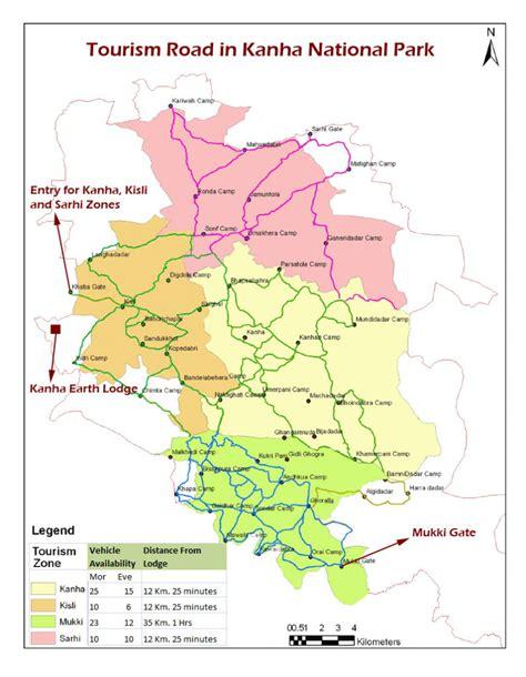 national park kanha map sloth bear zones gates kahna