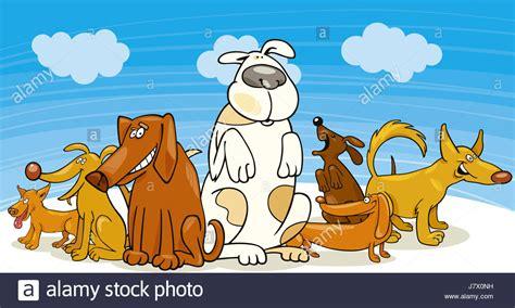 cartoon group funny dogs stock  cartoon group