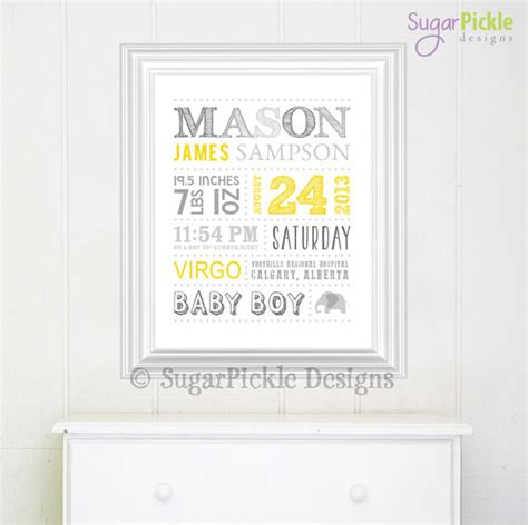 personalized nursery wall birth announcement