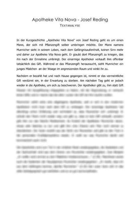 analyse der kurzgeschichte apotheke vita nova von josef
