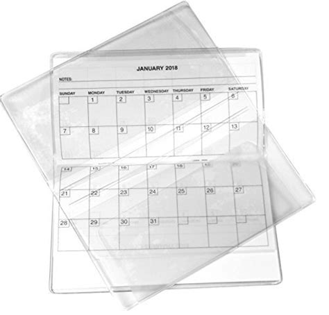 year clear vinyl checkbook size calendar note pad set