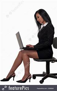 Image Of Woman Sitting And Working On Laptop  Sitting
