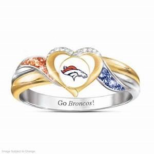denver broncos womens 18k gold plated nfl pride ring With denver broncos wedding rings