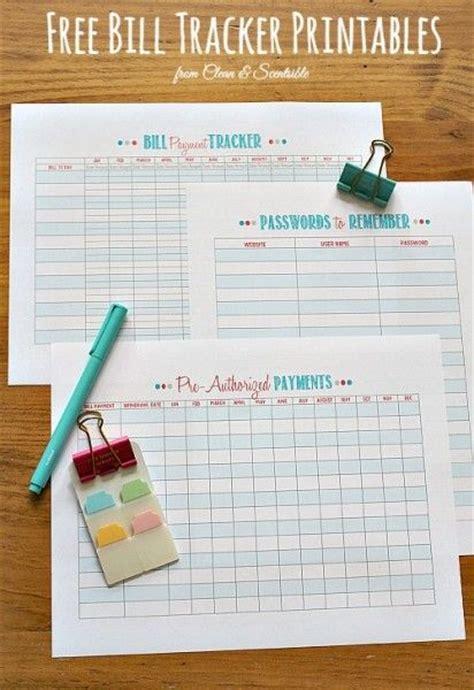 organize bills  printables printable budget