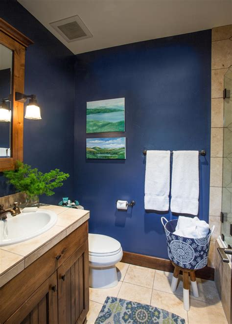 rustic style bathroom  navy walls hgtv