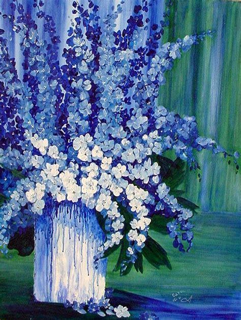blue  white delphiniums  vase painting  carol nelissen