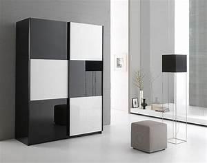 Armoire 2 Portes En 180 Cm Laque Jazzy Structure Noire