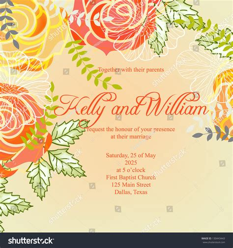 wedding invitation card abstract floral background stock