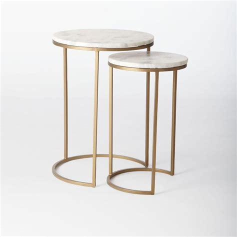 marble and brass side table round nesting side tables set marble antique brass