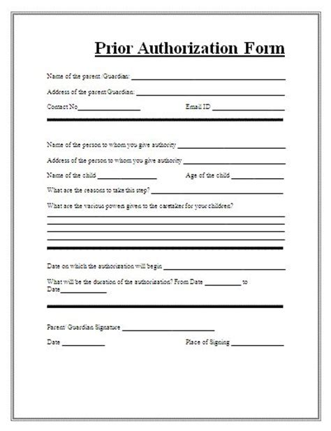 prior authorization form form  consent forms