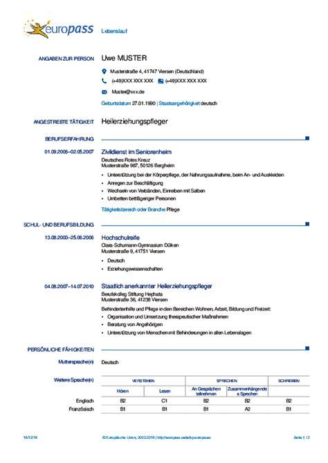 Beispiel Cv by Curriculum Vitae Auf Beispiel